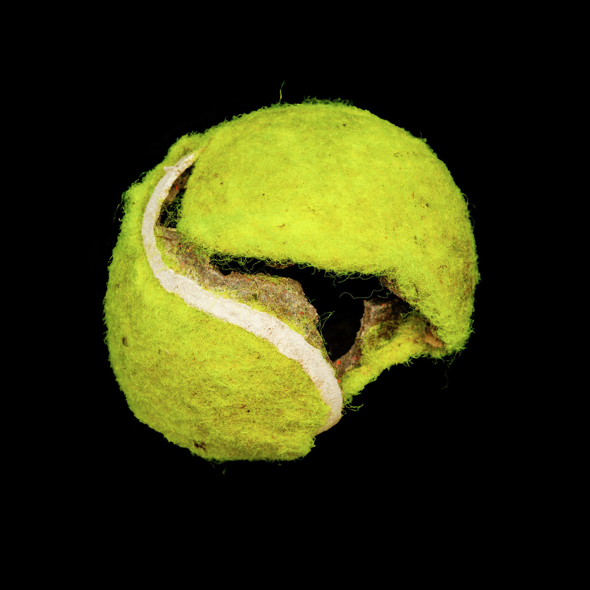Yellow tennis ball on black background print