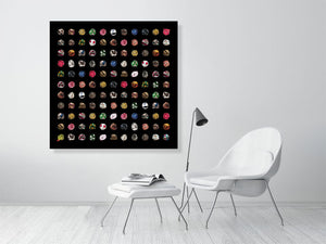Open image in slideshow, Collage of old footballs on black background print on living room wall