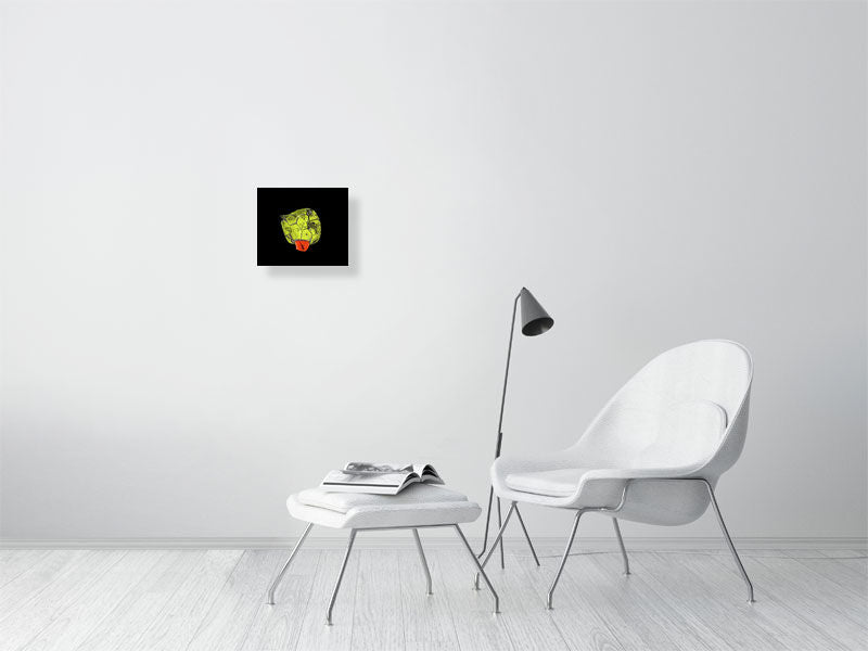 Yellow and orange football on black background print on living room wall