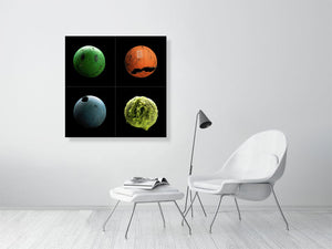 Open image in slideshow, Collage of four sports balls on black background print on living room wall