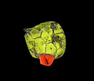 Yellow and orange football on black background print