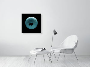 Open image in slideshow, Blue squash ball on black background print on living room wall