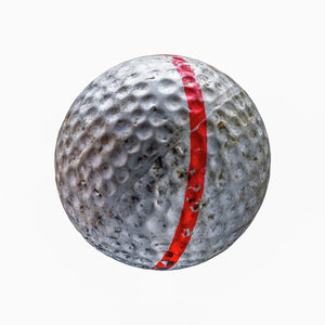 White golf ball with red stripe on white background print