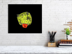 Open image in slideshow, Yellow and orange football on black background print above desk
