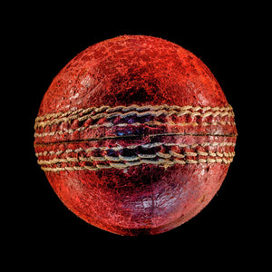 Cricket ball on black background print