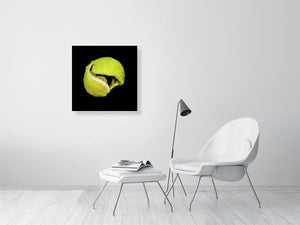 Open image in slideshow, Yellow tennis ball on black background print on living room wall