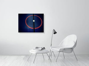 Open image in slideshow, Blue sports hall print with red circle and black line on living room wall