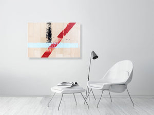 Open image in slideshow, White sports hall with blue, red and black lines on living room wall