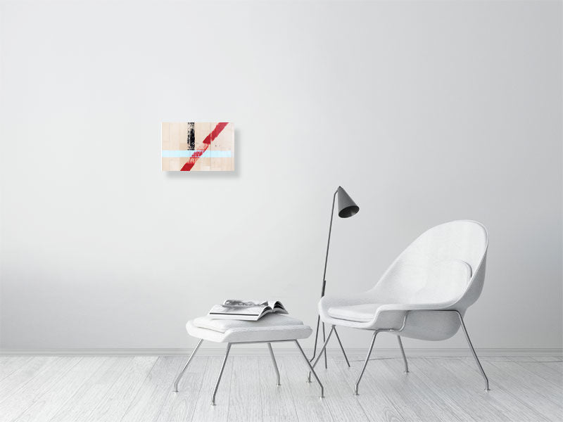 White sports hall with blue, red and black lines on living room wall