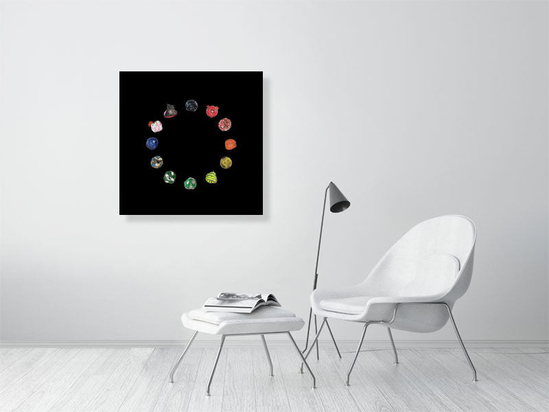 Football wheel collage on black background print on living room wall