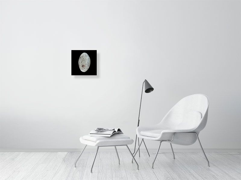 Grey rugby ball on black background print on living room wall