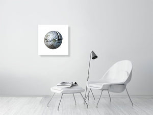 Open image in slideshow, White golf ball on white background print on living room wall