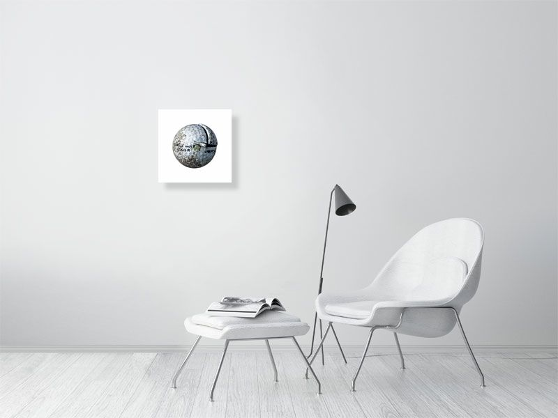 White golf ball on white background print on living room wall