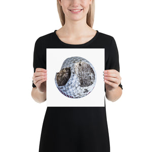 Open image in slideshow, Woman holding white chipped golf ball on white background poster