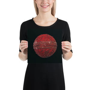 Open image in slideshow, Woman holding red cricket ball on black background poster