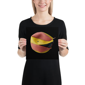 Open image in slideshow, Woman holding red and yellow volleyball on black background poster