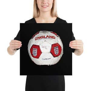 Woman holding red England football on black background poster