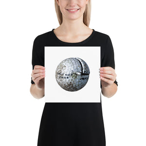 Open image in slideshow, Woman holding white golf ball on white background poster