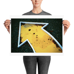 Woman holding yellow crazy golf poster
