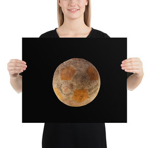 Woman holding orange football on black background poster