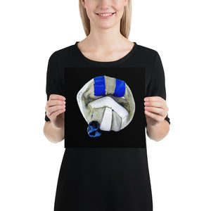 Open image in slideshow, Woman holding white and blue football on black background poster