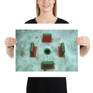 Woman holding green crazy golf hole print
