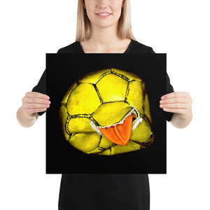 Woman holding yellow and orange football on black background poster