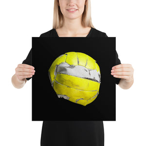 Woman holding yellow floorball on black background poster
