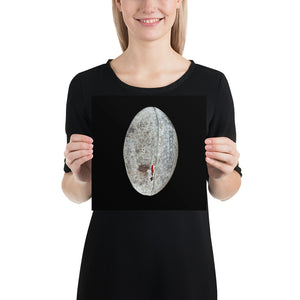 Open image in slideshow, Woman holding grey rugby ball on black background poster