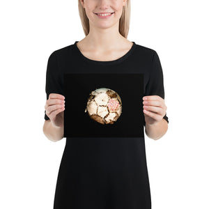 Open image in slideshow, Woman holding white and brown football on black background poster