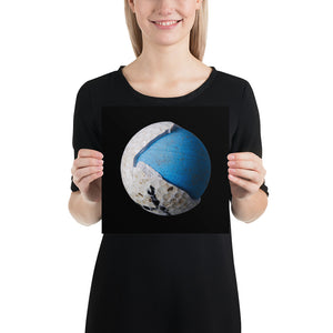 Open image in slideshow, Woman holding blue and white golf ball on black background poster