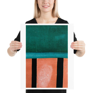 Woman holding red and green crazy golf course poster