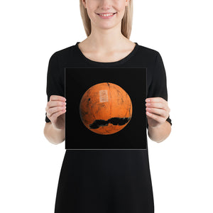 Open image in slideshow, Woman holding orange and black basketball poster on black background
