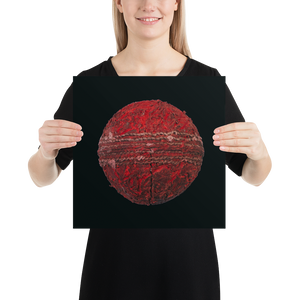 Woman holding red cricket ball on black background poster