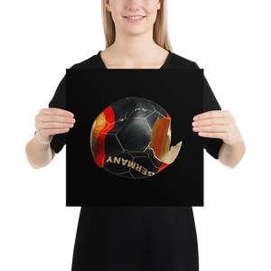 Woman holding Germany football on black background poster