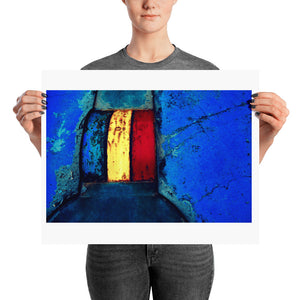 Woman holding blue crazy golf course poster