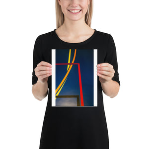 Open image in slideshow, Woman holding blue sports hall poster with red, yellow, and orange lines