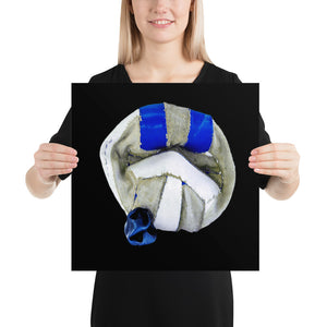 Woman holding white and blue football on black background poster