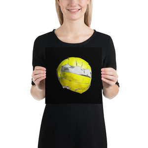 Open image in slideshow, Woman holding yellow floorball on black background poster