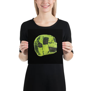 Open image in slideshow, Woman holding green futsal on black background poster