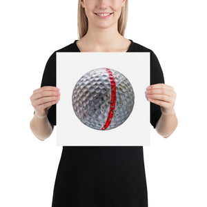 Woman holding white golf ball with red stripe on white background poster