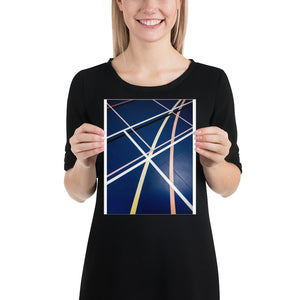 Open image in slideshow, Woman holding blue sports hall poster with white, yellow, and pink lines