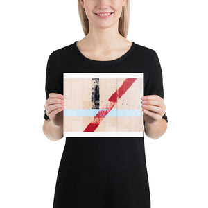 Open image in slideshow, Woman holding white sports hall poster with blue, red and black lines