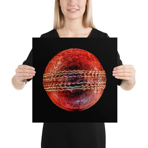 Woman holding cricket ball on black background poster