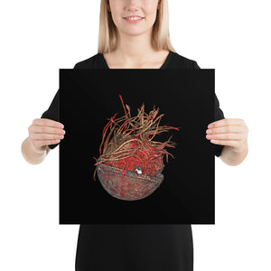 Woman holding Unravelled cricket ball on black background poster