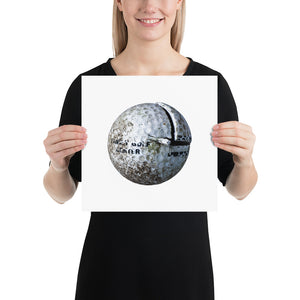 Woman holding white golf ball on white background poster
