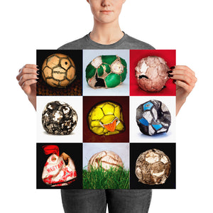Woman holding collage of old footballs poster