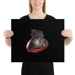 Woman holding red and grey football on black background poster