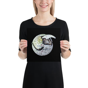 Open image in slideshow, Woman holding white chipped golf ball on black background poster
