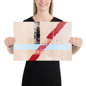 Woman holding white sports hall poster with blue, red and black lines